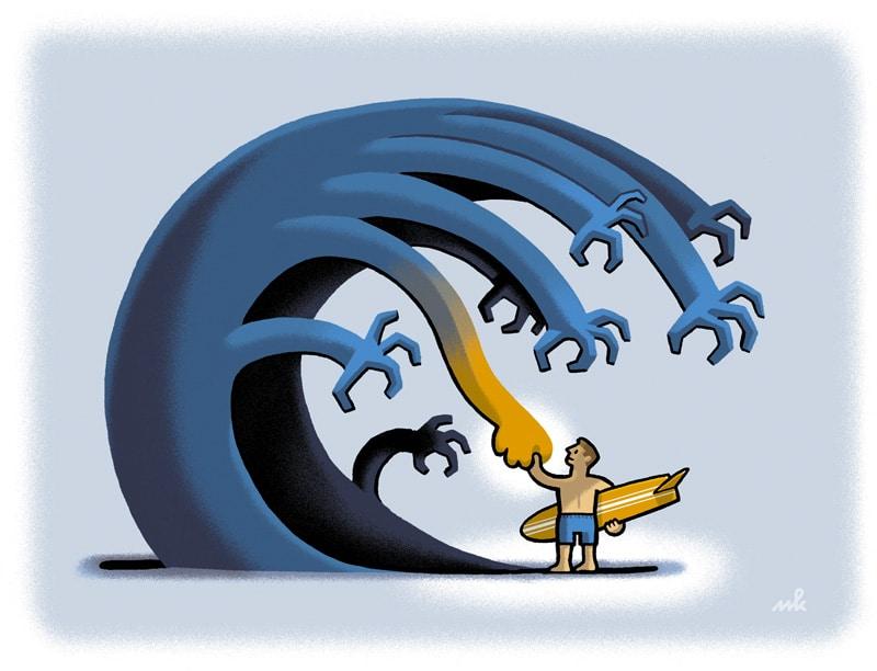 Mindfulness bij Relax More - De golven zijn niet tegen te houden, maar je kunt wel leren surfen.