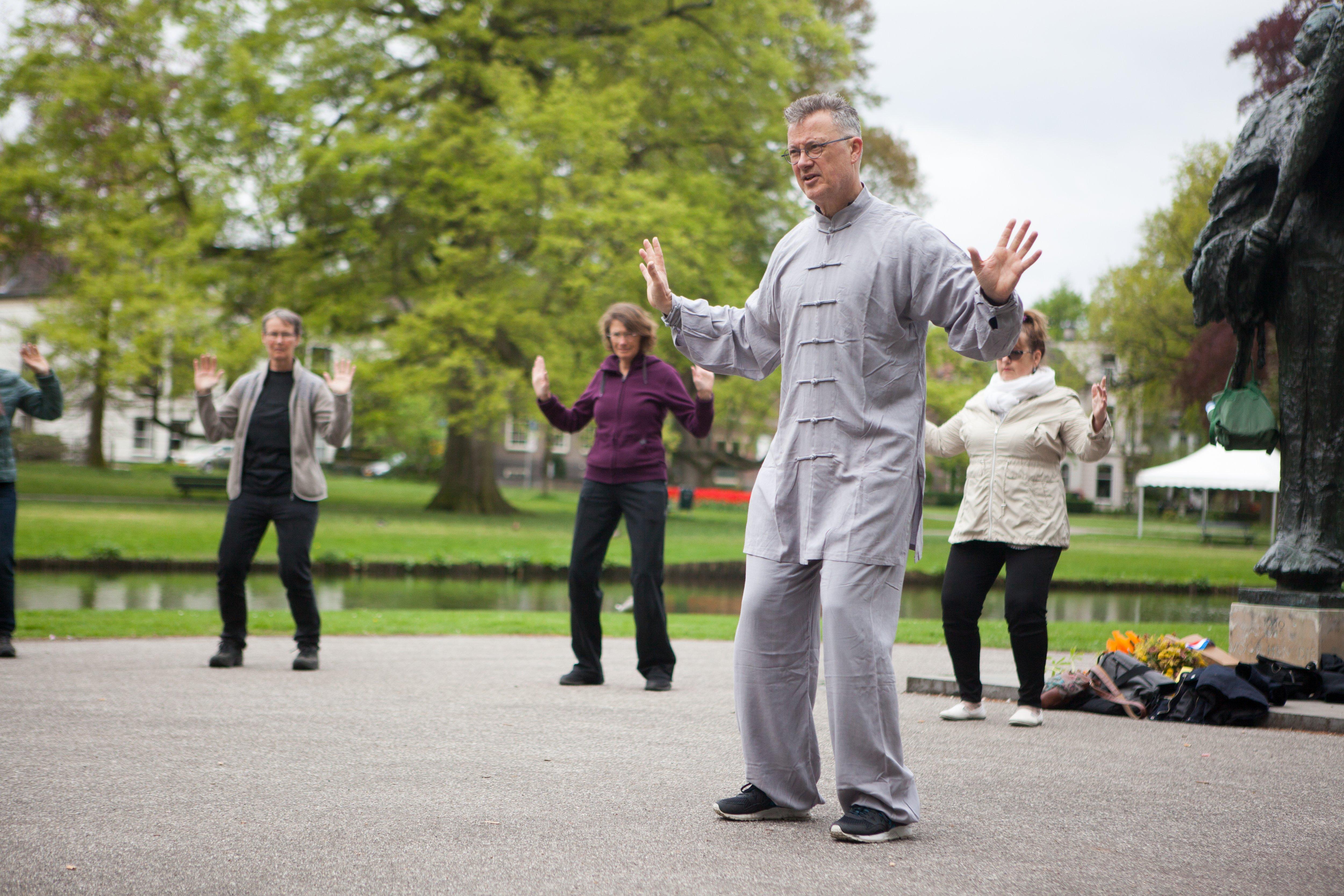 Chi Kung in het park tijdens Wereld Tai Chi Dag 2018 (foto: Rob Feber)